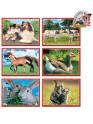 Skládací obrázkové kostky 12 ks domácí zvířátka