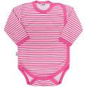 Kojenecké celorozepínací body New Baby Classic II s růžovými pruhy 50