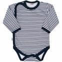 Kojenecké celorozepínací body New Baby Classic II s modrými pruhy 56 (0-3m)
