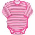Kojenecké celorozepínací body New Baby Classic II s růžovými pruhy 68 (4-6m)