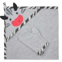 Dětská osuška s žínkou Koala Happy Zebra grey