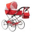 Dětský Retro kočárek pro panenky 2v1 New Baby Anička červený se srdíčky