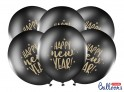 Balónky černé Happy New Year, 30 cm