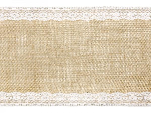 Stolová šerpa juta s krajkovým lemem 28 cm x 2,75 m