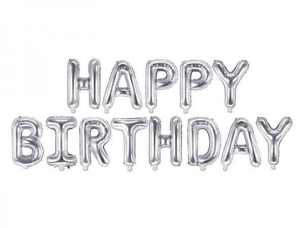 Foliový balónek Happy Birthday, stříbrný